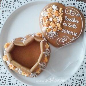 Mézeskalács doboz szív alakú