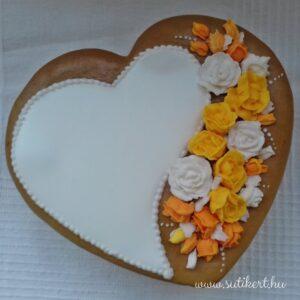 Sárgarózsás mézeskalács szív